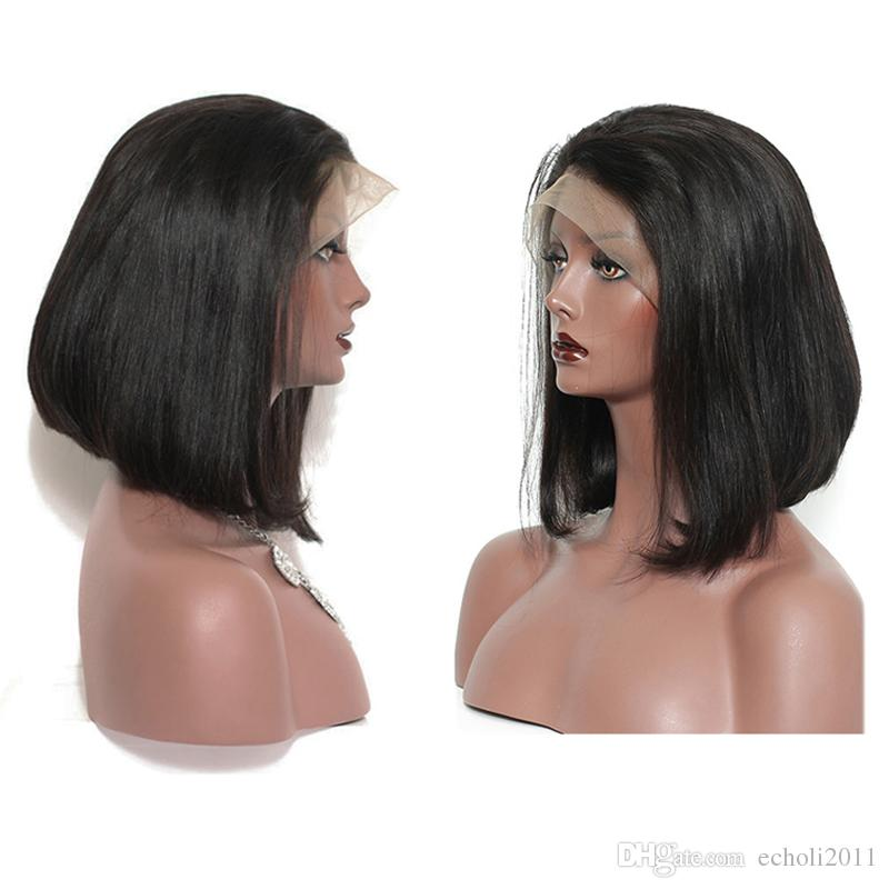 8A Brazilian Virgin Short BOB Human Hair Lace Front Wigs Glueless Silky Straight Wig Natural Black with Side Part Natural Hairline 8 inch
