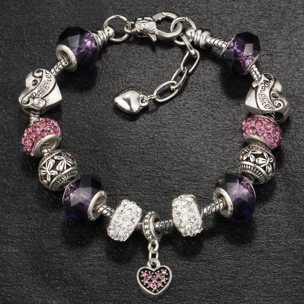 17KM Vintage Beads Charm Bracelet & Bangle For Women Crystal Femme Bracelets With Love Heart Wedding Party Jewelry Gift
