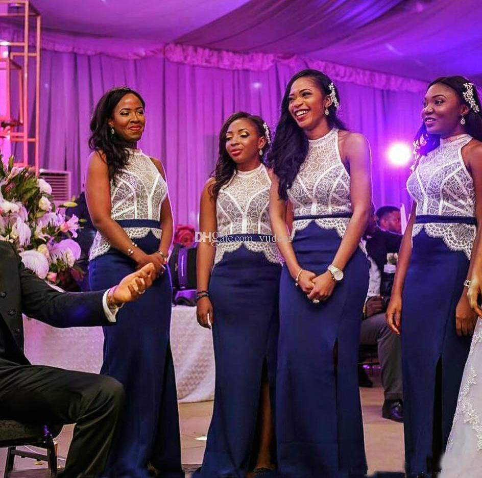 Seksi Ekip Boyun 2019 Iki Renk Nedime Elbisesi Beyaz Dantel Aplikler Kraliyet Mavi Saten Düğün Konuk Elbiseleri için Parti Bölünmüş Ön Balo Elbise