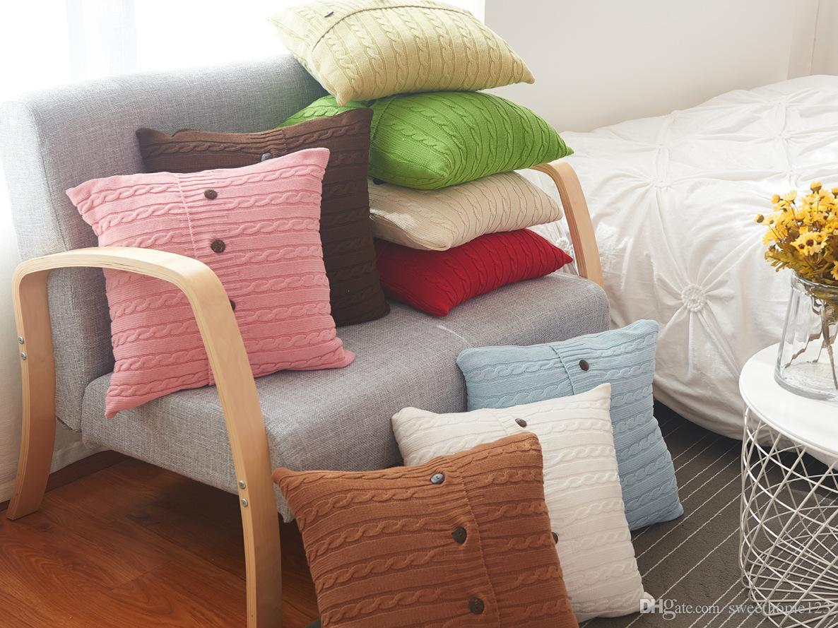 Brand New 9 color cotton Knitted Pillowcase 45*45cm cotton Twist pattern Pillow cover pure color Pillow case