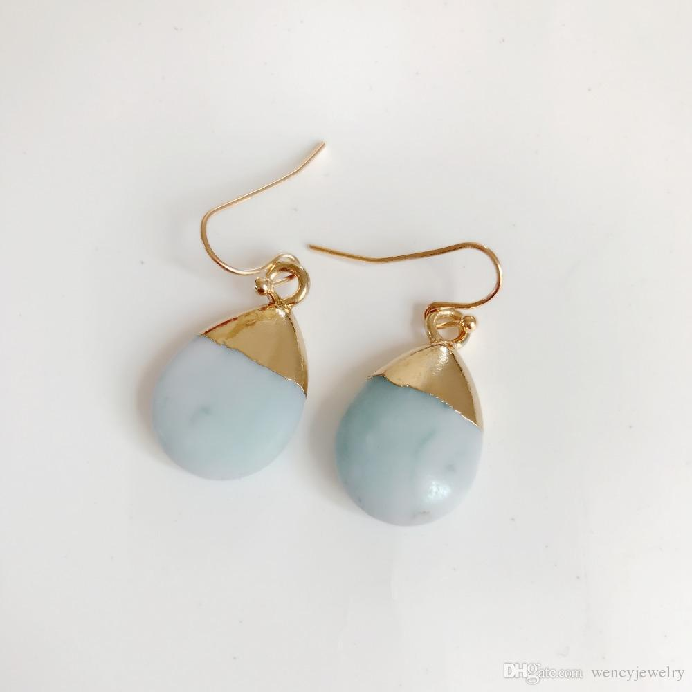New Cute Teardrop Natural Stone Earring, Fashion Sweet Party Holiday Jewelry For Women