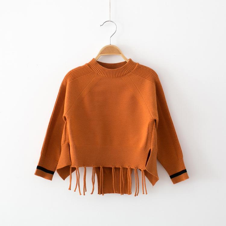 Everweekend Baby Girls Knitted Tassels Sweater Tops Candy Color