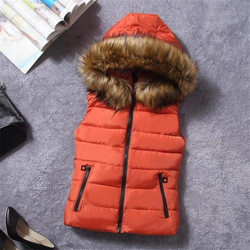 New Design Fur Collar Women Vest Down Hooded Waistcoat Winter Autumn Jacket Sleeveless Coat For Female Casual Clothes Plus Size
