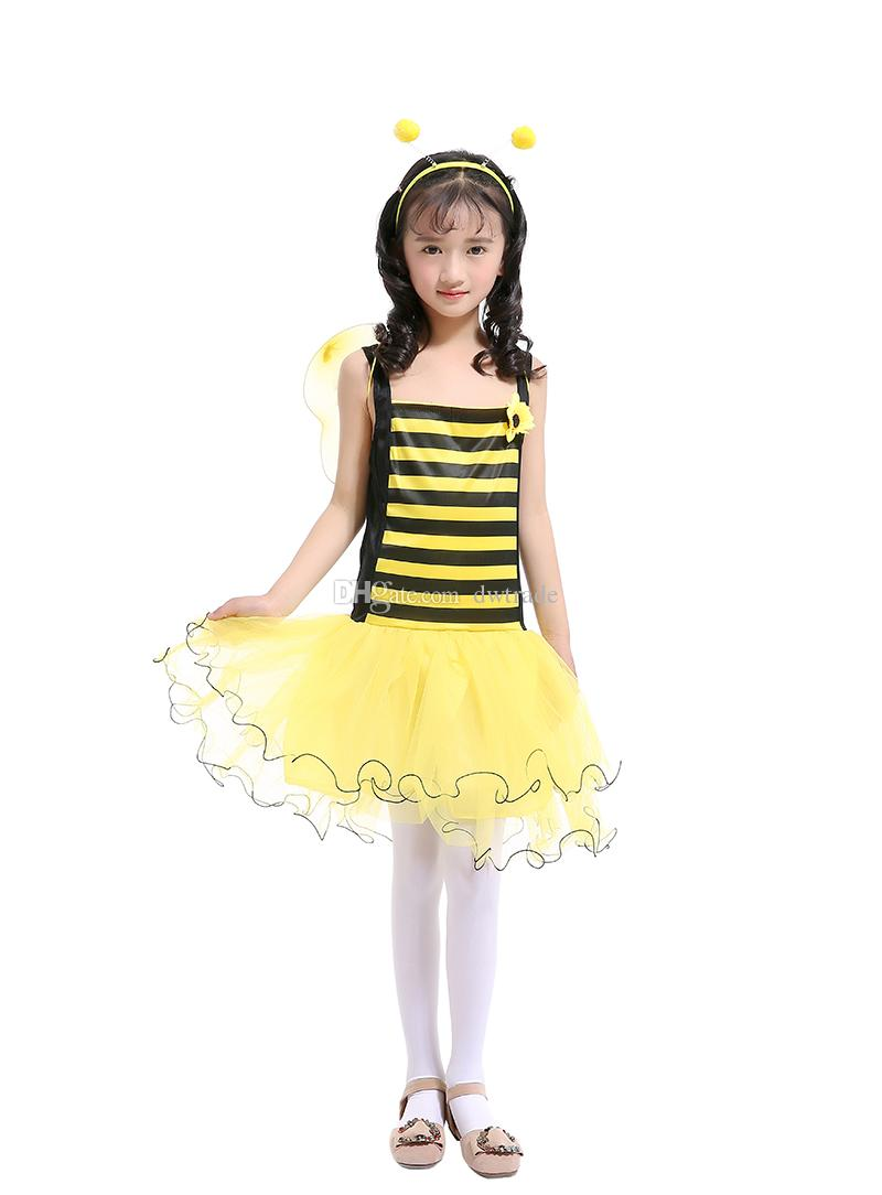 Little Bee Girls Siling Dress Gonna Tutu di patchwork di filato giallo con ala gialla + vestito da principessa la fascia Costume di Halloween bambini