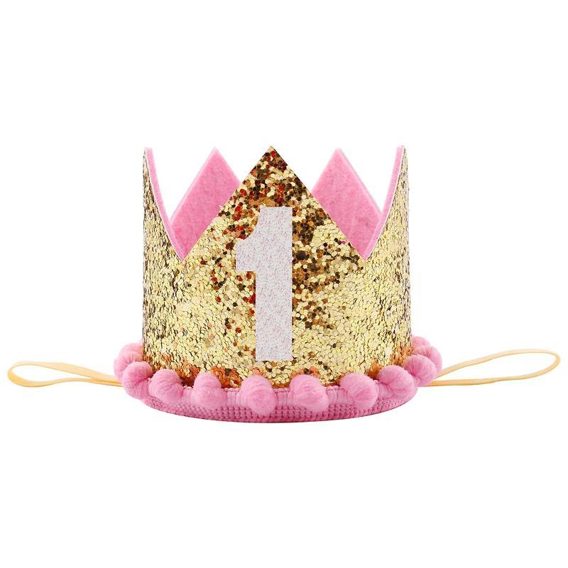 Grosshandel Glitter 1 Geburtstag Party Hut Prinz Prinzessin Crown