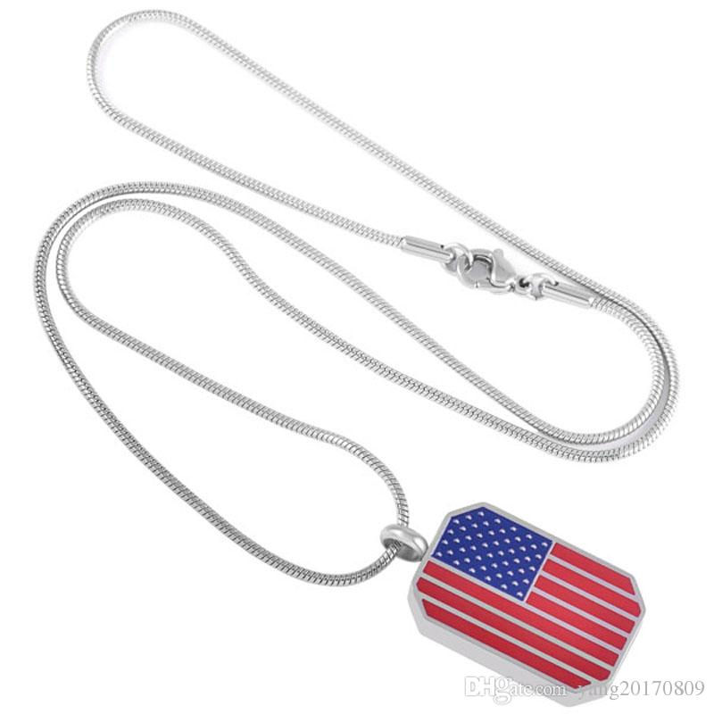 IJD8534 USA Flag Memorial Necklace Engravable Stainless Steel Keepsake Urn Necklace for Ashes Cremation Jewelry Charm Pendant