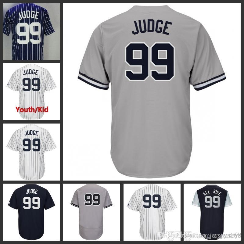 best sneakers 6c09c d3e6a Men Women Youth 99 Aaron Judge Jersey With Patch Nickname All Rise 2017 All  star Jerseys Home Away White Pinstripe Baseball Jerseys