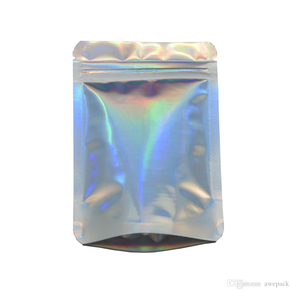Stand Up Glittery Surface Zip Lock Stand Up Pouch 8.5x13cm Resealable Zipper Top Mylar Foil Bag for Sugar Powder Smell Proof Storage Bag