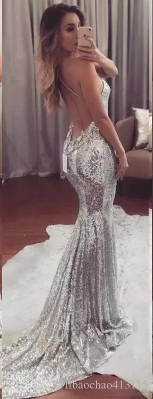 2019 Sexy Backless Silber Pailletten Abendkleider Meerjungfrau Abendkleider Einfache Frauen Formale Party Kleider Abendgarderobe Kleider Für Besondere Anlässe