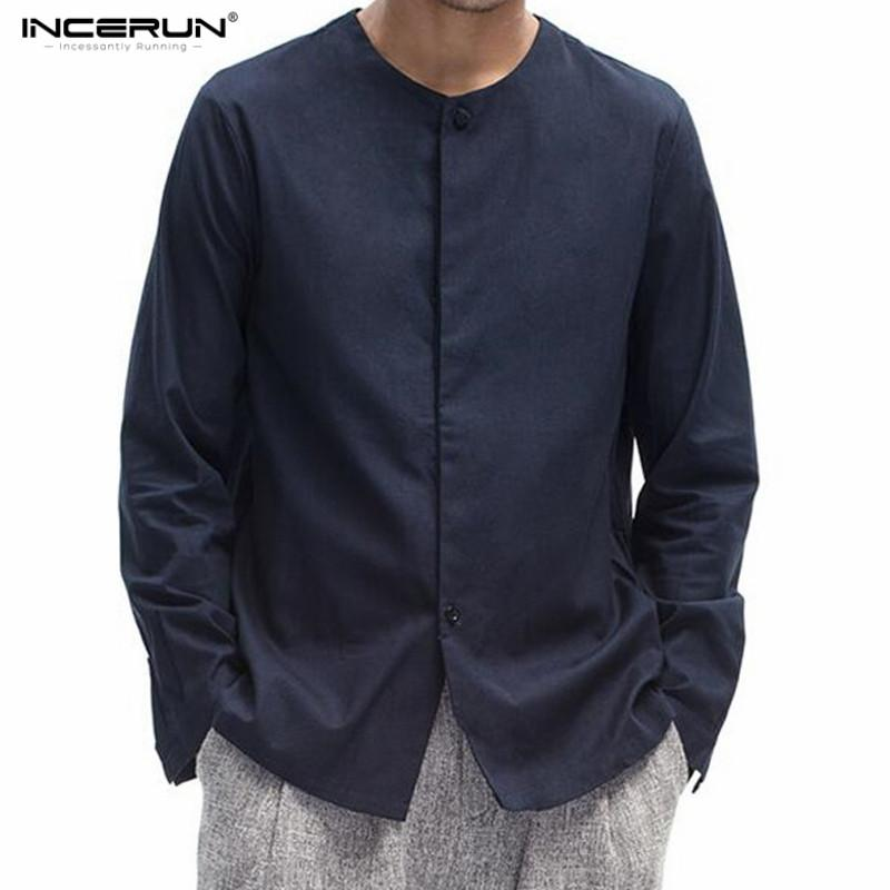 ea4093cea INCERUN Men's Chinese Style Solid Long Sleeve Collarless Shirt Men Casual  Slim Fit Cotton Linen Shirts Men Shirt Without Collar