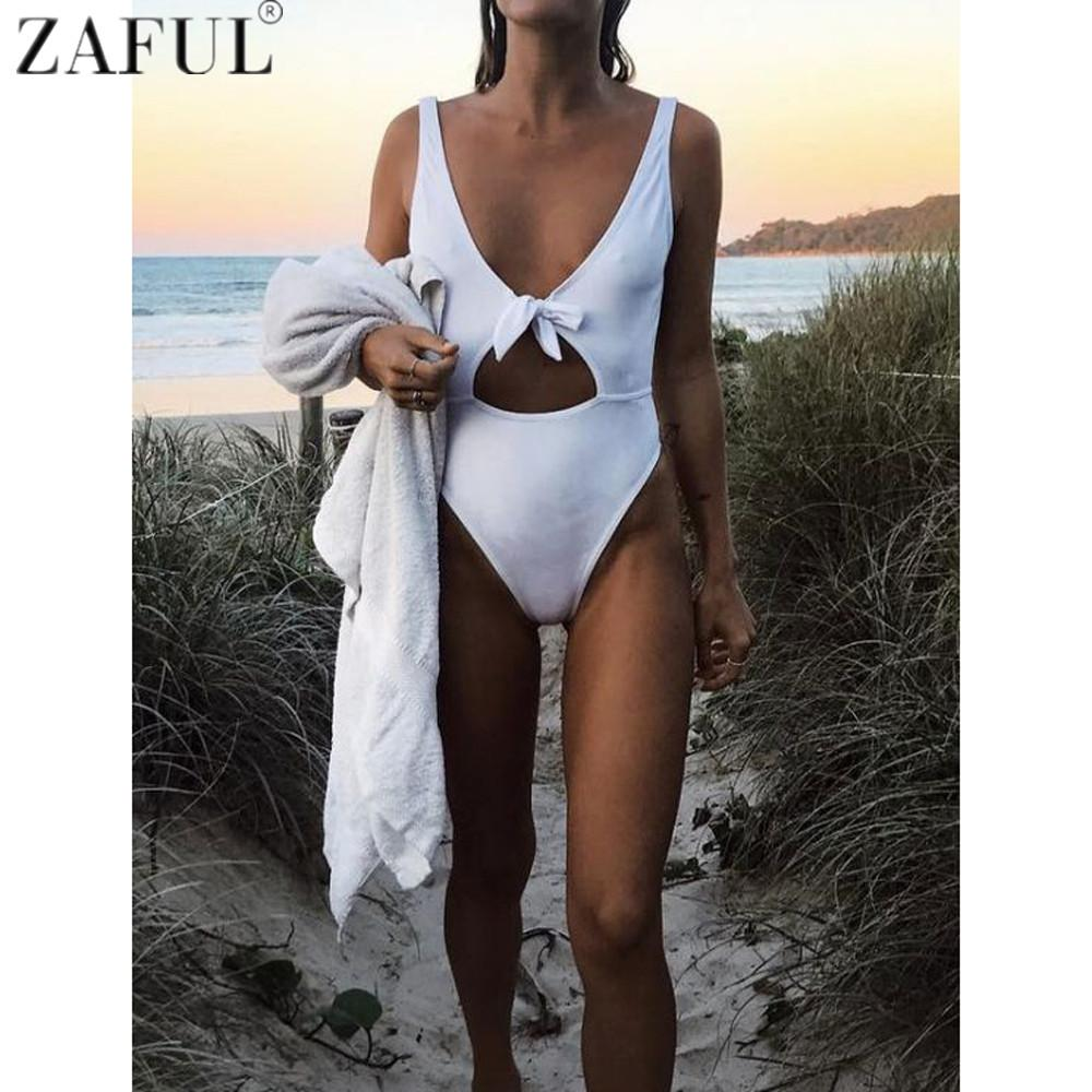 fda462968eb34 2019 Zaful 2017 One Piece Swimwear Women Sexy High Cut Swimsuit Backless  Hollow Out Monokini Bathing Suit Bodysuit Bowknot Beach Wear From Jianpin