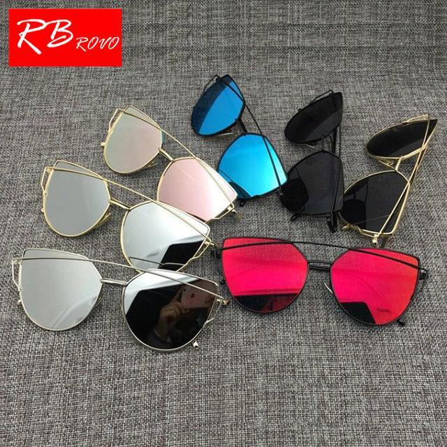 fc83ad501 Compre Marca Designer De Olho De Gato Óculos De Sol Das Mulheres Do Vintage  De Metal Reflexivo Óculos Para Mulheres Designer De Óculos De Sol Espelho  Retro ...