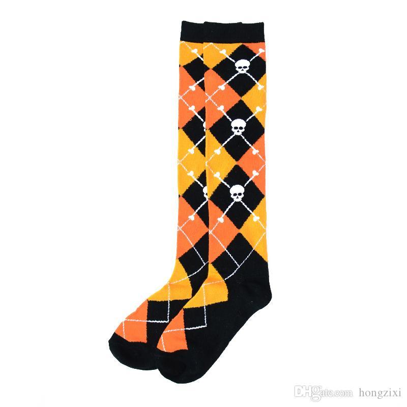 womens dames youth girls knee length lange sexis medias calcetines sokken yellow black argyle skull street Harajuku hip pop cosplay stocking