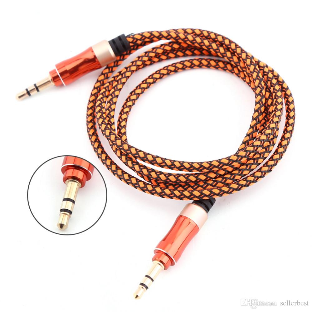 1.5M Male to 3.5mm male Audio AUX Braided Cable Atereo Jack Plug 3.3 FT Audio Extension Cable for iPod MP3 Car TV PC