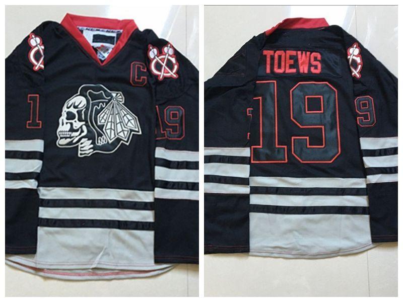 separation shoes 4e585 3daaa 2018 Chicago Blackhawks Skull Hockey Jerseys 19 Jonathan Toews Crawford Ice  Hockey Jerseys Skull Hockey Jerseys