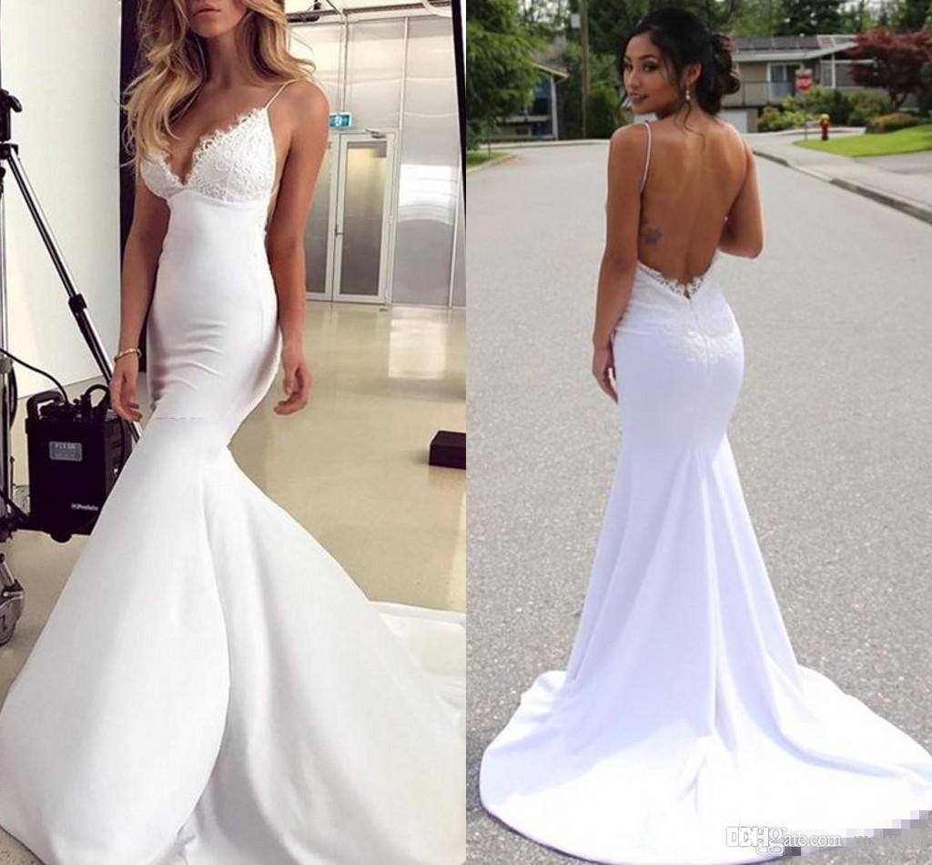 Sexy Backless Mermaid Beach Wedding Dresses With Spaghetti Straps Lace Applique Court Train Bridal Gown Deep V Neck Custom Made Boho Style