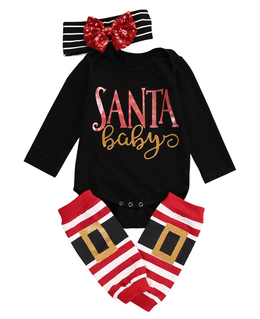 6e8f1a428 Christmas Baby Boys Girls Romper Jumpsuit + Pants Clothes Outfits ...