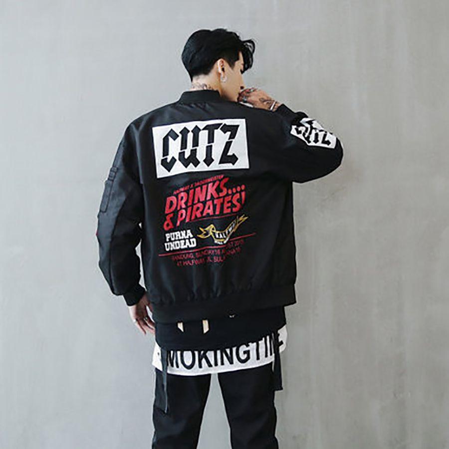 Swag Bomber Jacket Men Fall Fashion Korean Streetwear Retro