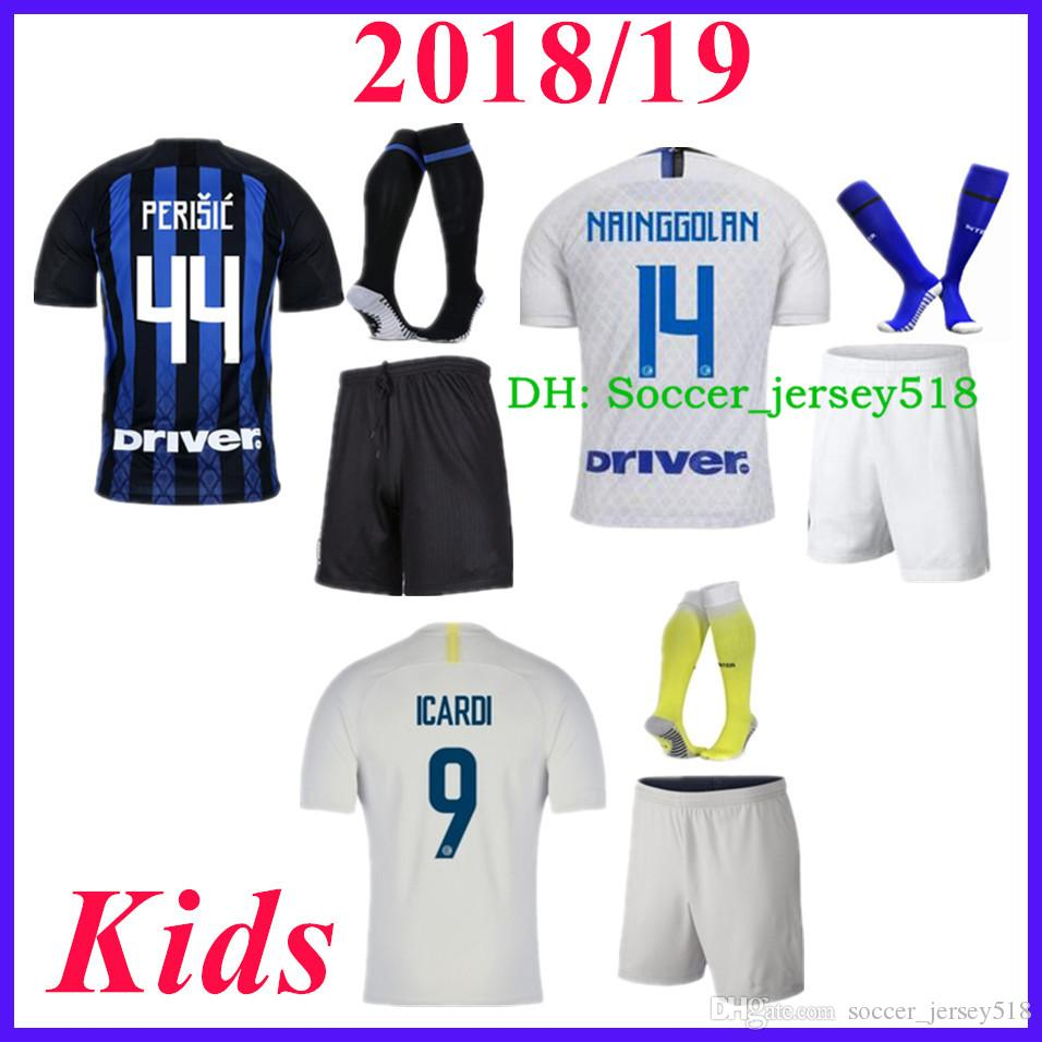 2019   2018 19 Inter Kids Kits Soccer Home Away Jersey ICARDI 9  NAINGGOLAN  14  LAUTARO 10  PERISIC 44  Soccer Boys Football Shirts+Socks+Pants From ... df558de9e