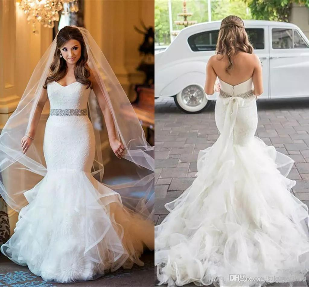Arabic Mermaid Wedding Dresses with Crystals Sash Lace Tiers Sweetheart Plus  Size African Country Bridal Gown Church Bride Dress Zipper Back Plus Size  ... 9cf35b6e400f