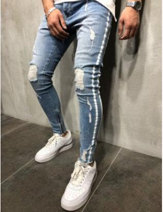 caacebbdc3a Kanye West Side Striped Blue Ripped Denim Trousers Pants Distressed Washed  Biker Cool Slim Jeans Mens High Street Pants Mens Rock Punk Ripped Biker  Jeans ...