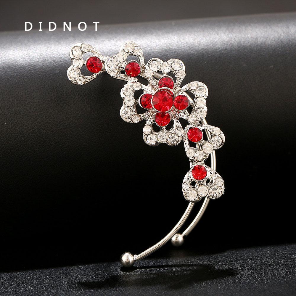 DIDNOT a forma di cuore cristallo orecchio polsino metallo orecchio-clip anti lega allergia orecchini gioielli ornamento donne d'oro d'argento orecchino