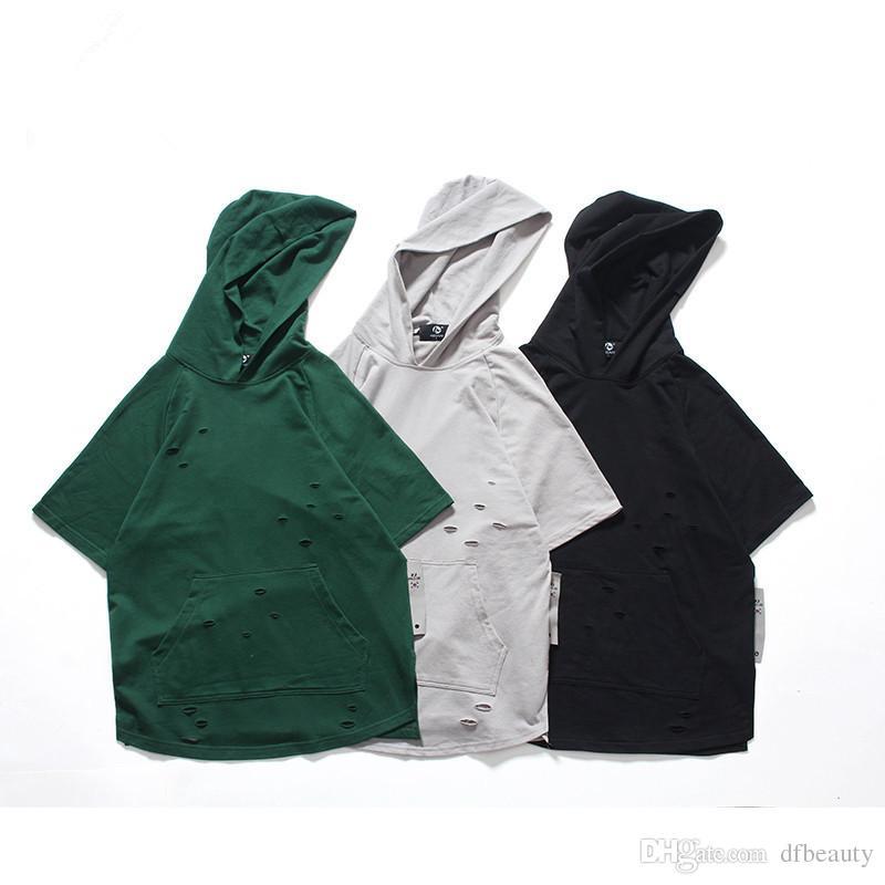 Moda Yaz Sokak giyim Yüksek Kaliteli Kırık Delik Pamuk erkek T gömlek Casual En Tees Yeşil Siyah T-shirt Boyut M-2XL