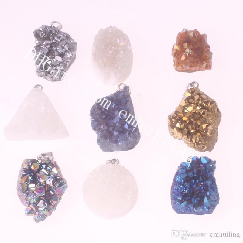 Mini Titanium Angel Aura Quartz Pendant Drusy Point Druzy Geode Pendant Geometric Nature White Drusy Titanium Coated Crystal Cluster Pendant
