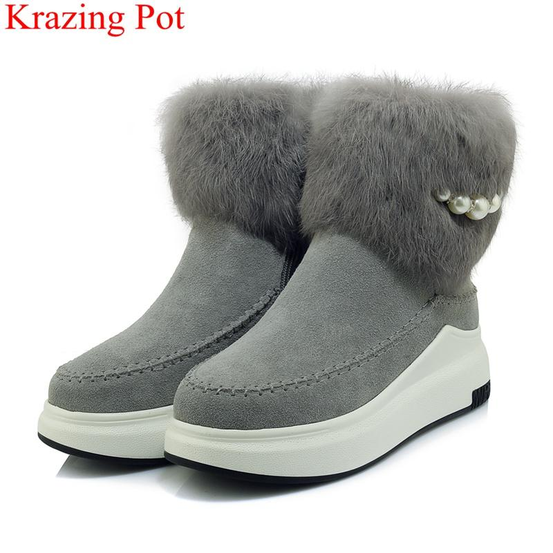 31551da8cfd6 2018 Superstar Round Toe Cow Suede Snow Boots Keep Warm Fur Winter Shoes  Platform Zipper Pearl Casual Women Mid Calf Boots L22 Bootie Buy Shoes  Online From ...