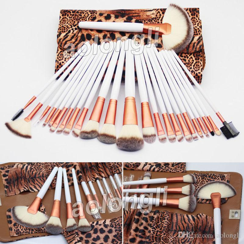 Makeup Brushes Leopard Set Rose Gold Brush Face and Eye Brushes kit Eyeshadow Eyeliner Pencil Makeup Powder Foundation Brush