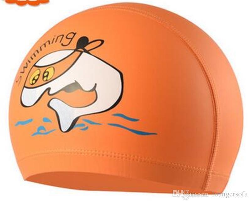 Precioso impermeable protección para los oídos gorros de baño de dibujos animados de la PU de tela gorro de baño para niños alta elasticidad deportes acuáticos herramienta 5zy X