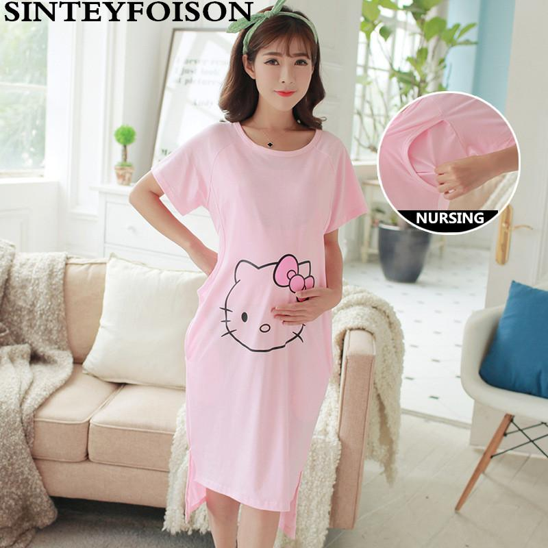 70e06cf90b 2019 Summer Pregnant Women Pajamas With Short Sleeves Thin Pure Cotton  Nursing Nightgown Expectant Mother Feeding Dress From Bosiju