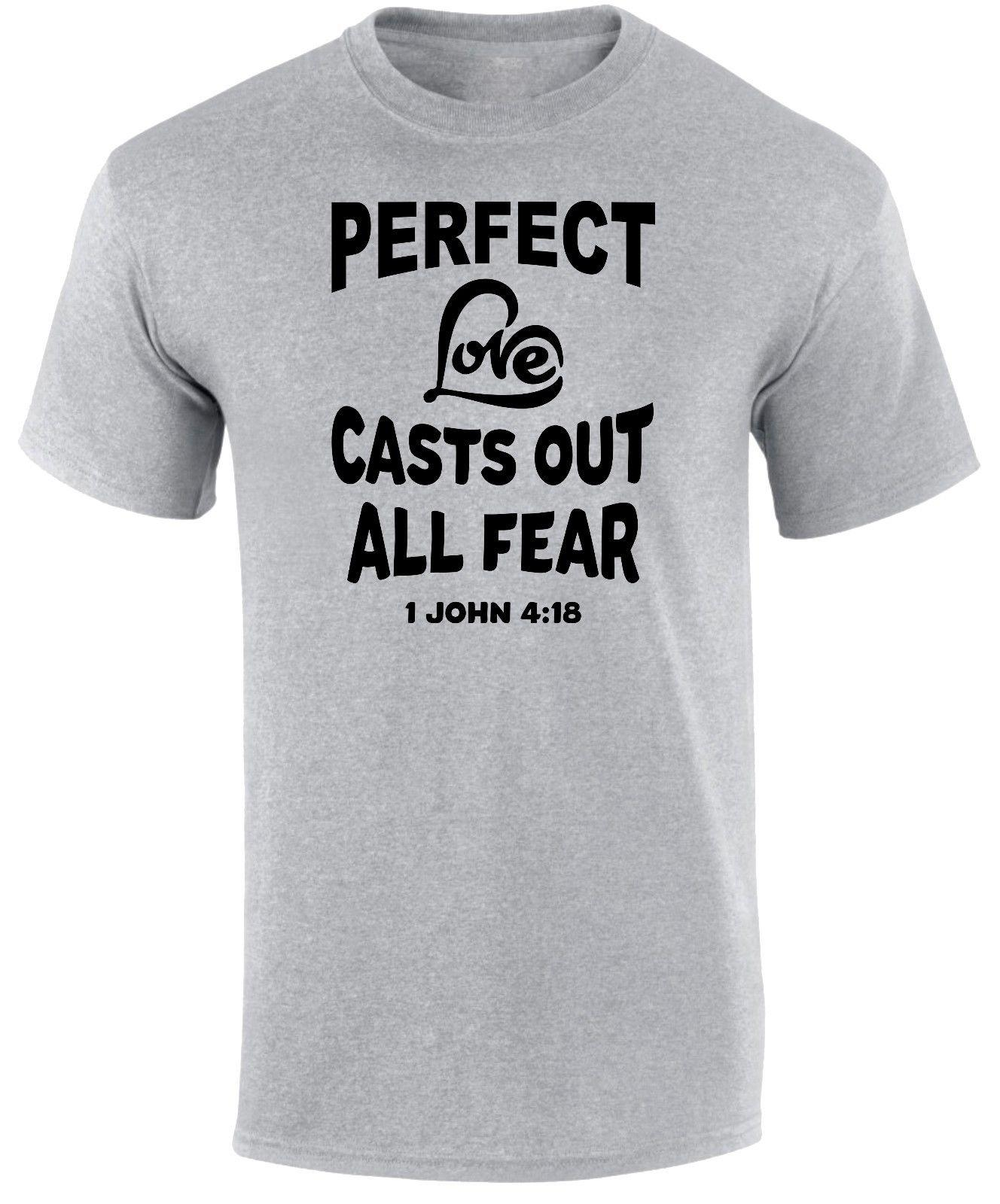 Details zu Perfect Love Casts Out All Fear Bible Verse Jesus Heart  Christian Men s T Shirt Funny free shipping Unisex tee