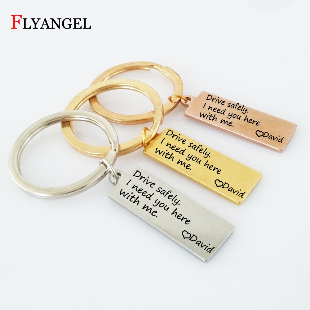 Customized Name Stainless Steel Drive Safely I need you here with me  Engraved Keychains Car Key Ring for Couples Boyfriends Gift
