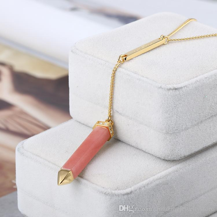 2018 Hen ri bende.. Fashion Gold Chain with nature Stone 11cm pencil style Pendants Long Necklace in 79cm length For Women Girl Jewelry fr