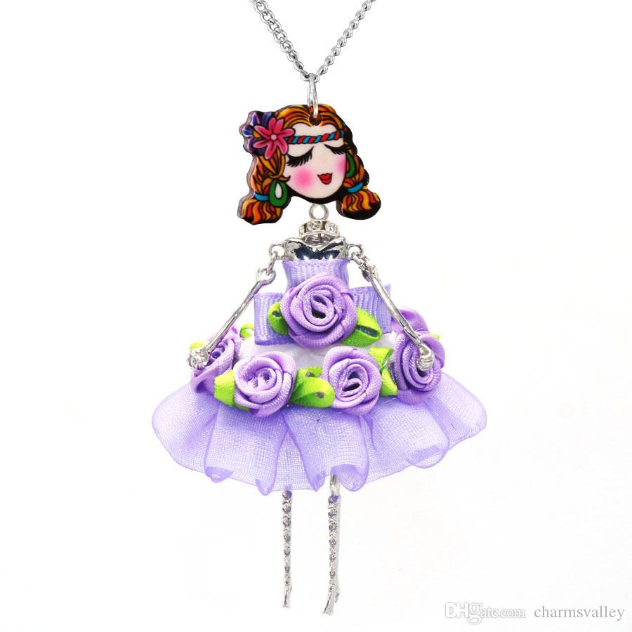 Ethnic Style Doll Hang Pendant Neckace Purple Skirt Girls Necklace For Women Girl Children Accessories sku0032