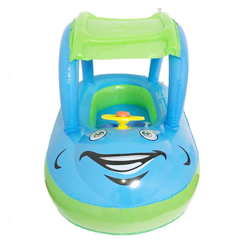 Child Inflatable Seat Float Sun Shade Cartoon Car Swimming Accessories Swim Pool Toy for 6M-36M Babies Toddler Kids