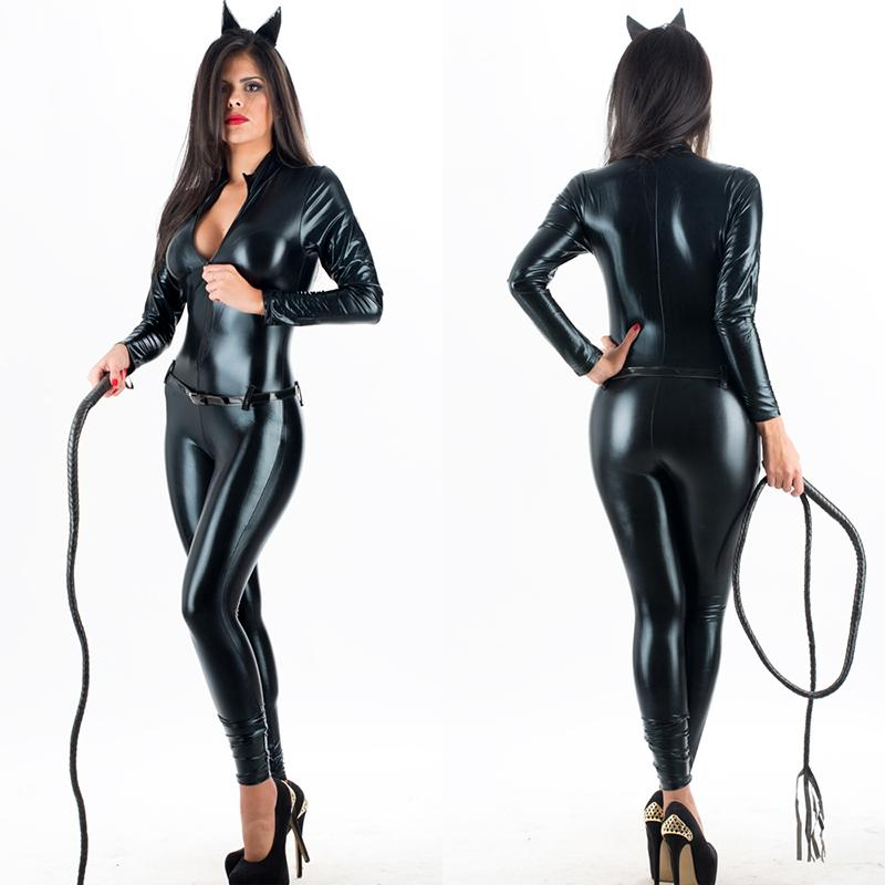 Acheter Costume Cosplay Femmes Sexy Look Humide Faux Cuir Chat Combinaison Femmes  Latex Catwoman Cosplay Costume Catsuit W207961 De  36.21 Du Rebecco ... 530aedeff9e
