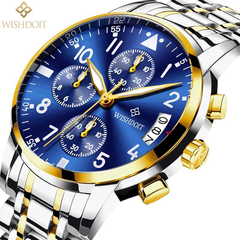 7f8fe5a75d29 Compre WISHDOIT Relojes Para Hombre Relojes De Cuarzo Reloj De Lujo De La  Marca De Fábrica De Los Hombres De Gama Alta Reloj Deportivo De Acero De La  Marca ...