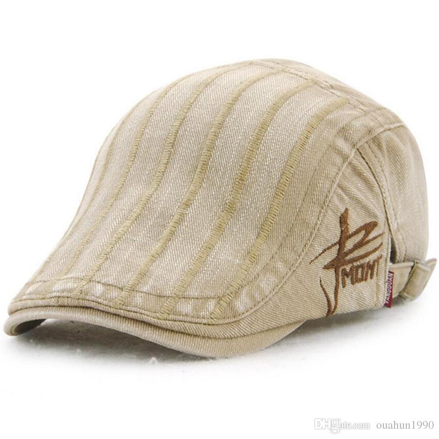 0027dd43bb4 Cotton Flat Cap Ivy Gatsby Newsboy Hat Unisex Duckbill Golf Cabbie ...
