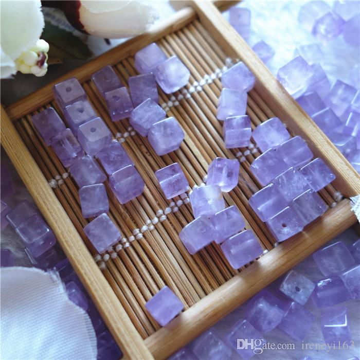 Cheap Natural Amethyst 6mm Cube With Through Hole Loose Beads Gemstones For Jewelry DIY