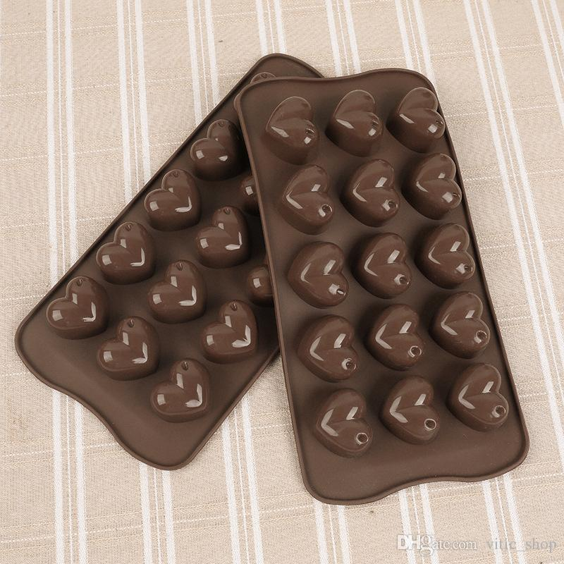 15 Cavities Heart Shape Silicone chocolate Molds Baking Mold Cake Pan Biscuit silicon cake Mold Soap DIY Tool