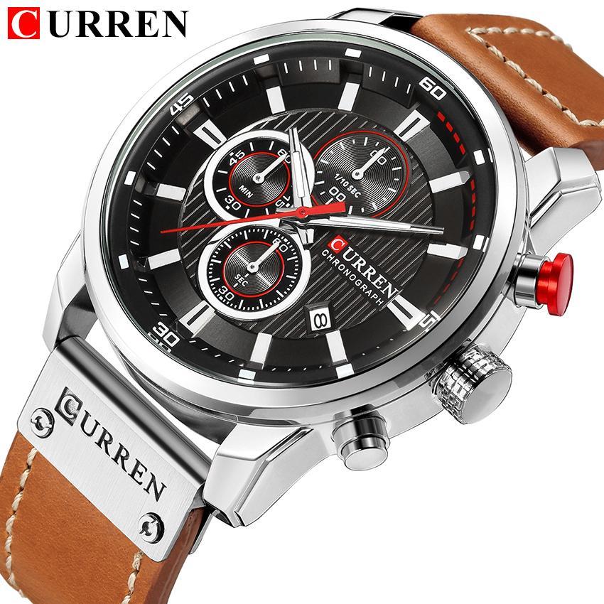 a68d6a484a3 Compre Novos Relógios Homens Marca De Luxo CURREN Cronógrafo Homens Esporte  Relógios De Alta Qualidade Pulseira De Couro De Quartzo Relógio De Pulso  Relogio ...