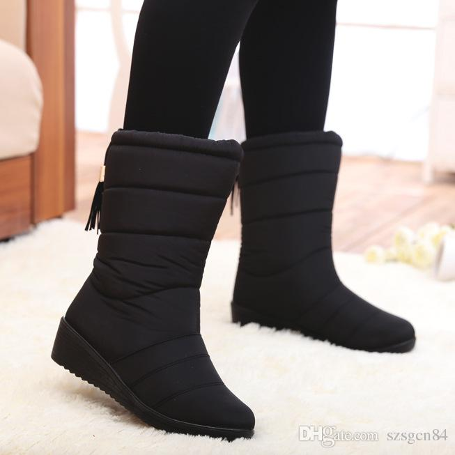 szsgcn84 Winter Women Boots Mid-Calf Down Boots Female Waterproof Ladies Snow Boots Girls Winter Shoes Woman Plush Insole Botas Mujer