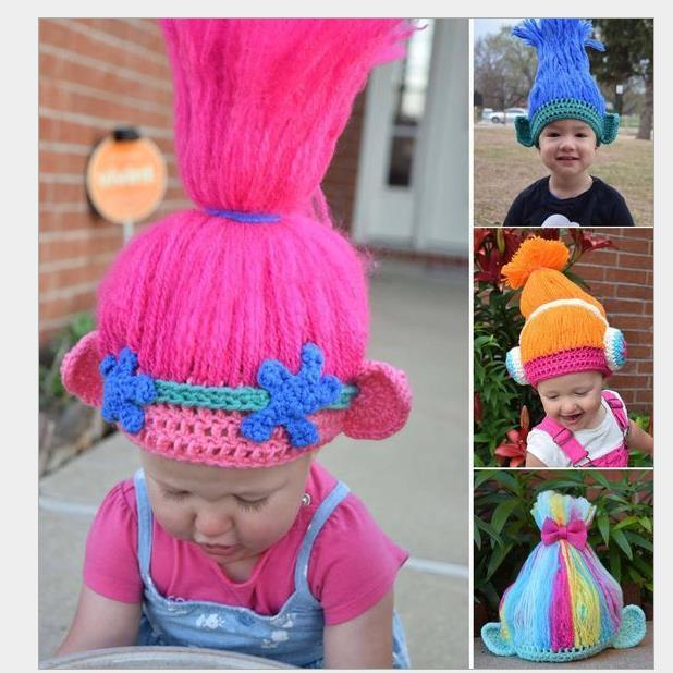 6ab131d58a5 Trolls Cosplay Knitting Hat Kids Handmake Poppy Cosplay Wig Party Hats For  Kids 3 6years Newspaper Party Hats Novelty Birthday Hats From Yiruishen