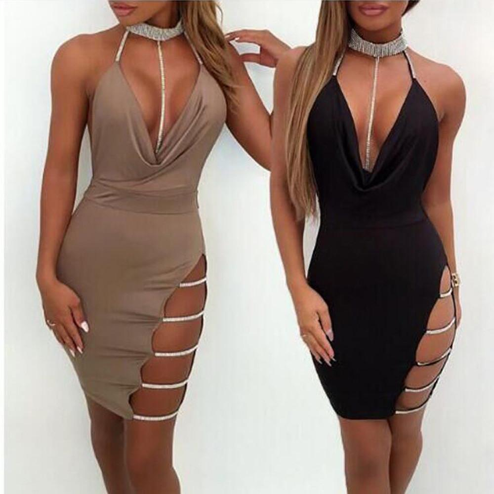 f3862de588 2019 Women Dresses Sexy Deep V Neck Halter Backless Choker Slit Sequin  Bodycon Mini Dress Women S Sexy Sleeveless Dress Sep28 From Yyliang