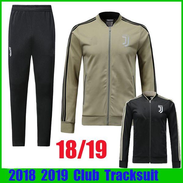 7a1fddd81 18 19 Juventus Tracksuit Long Sleeve Jacket Suit Kit Soccer Jersey Black  Training Uniform 2018 2019 Apricot Football Suits Jacket+Pants