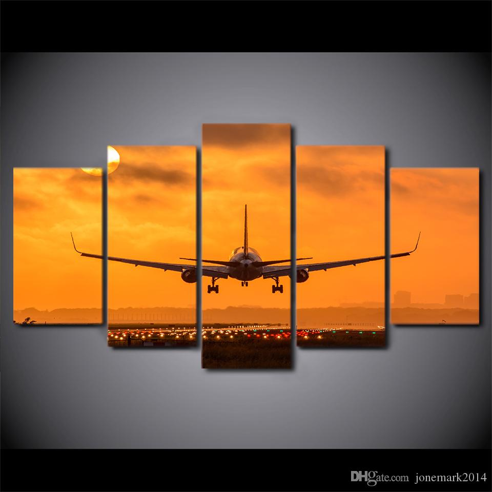 HD Printed Canvas Art Painting Sunset Airplane Take Off Poster Wall Pictures for Home Decoration CU-2854C
