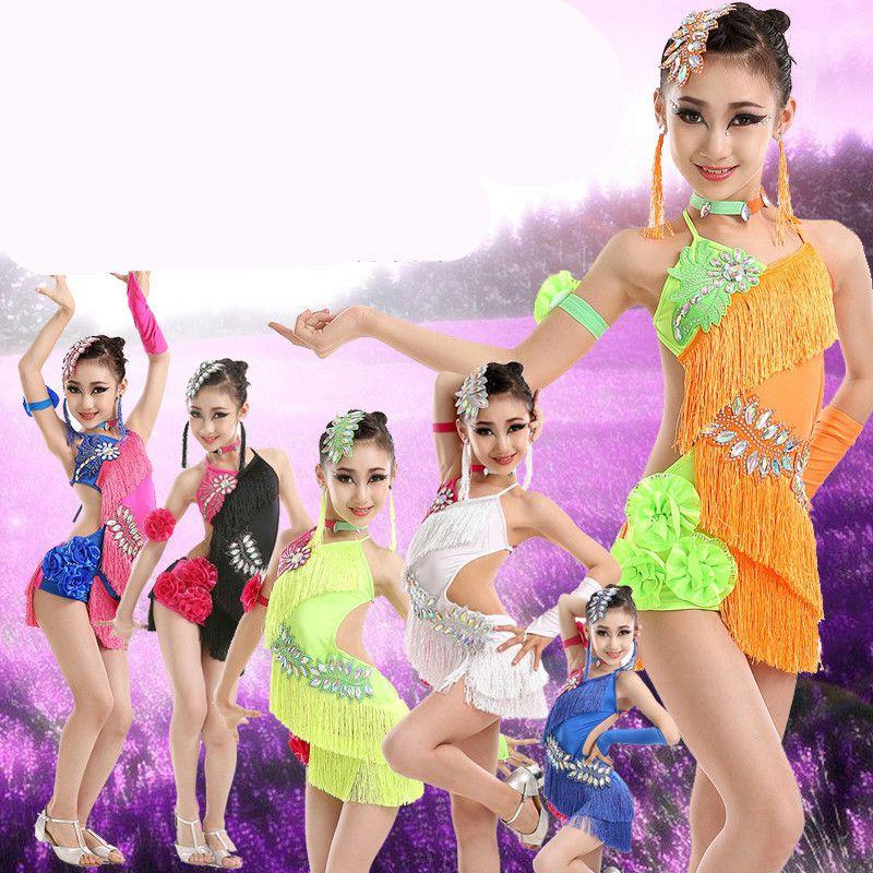 734eebf40 2019 Sequin Fringe Tassel Latin Dance Dress For Girls Salsa Kids ...
