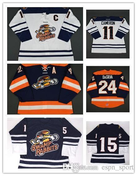 Wholesale Customize ECHL Greenville Swamp Rabbits Mens Womens Kids 11  Bretton Cameron 24 Justin DaSilva Cheap Hockey Jerseys Goalit Cut 24 Justin  DaSilva ... fc2ca69fa